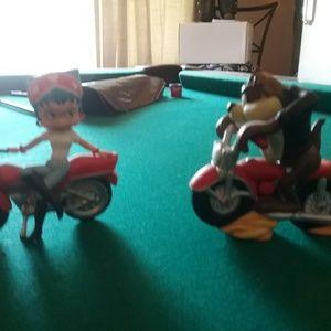 Taz biker and betty boop biker figurines